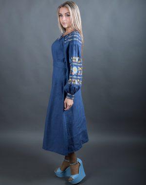 """Платье """"Борщівські барви"""" Д-88-2 лен джинс"""