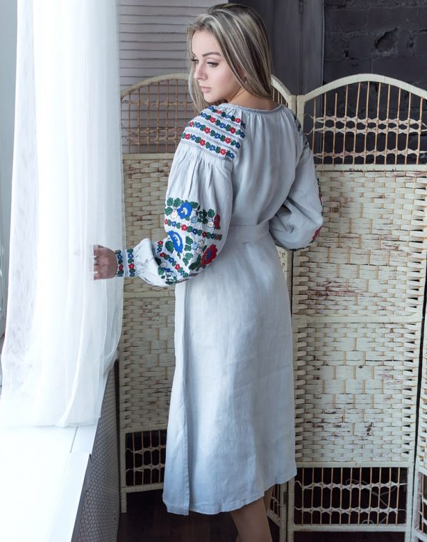 "Платье ""Борщівські барви"" Д-88-2 лен серый"