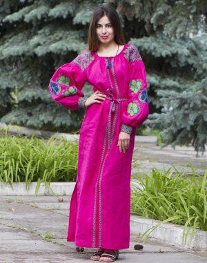 "Платье ""Барвінок"" лен ДР Д-88-3 длина малина"