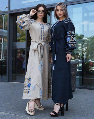 """Платье """"Борщівські барви"""" Д-88-3 лен синий"""