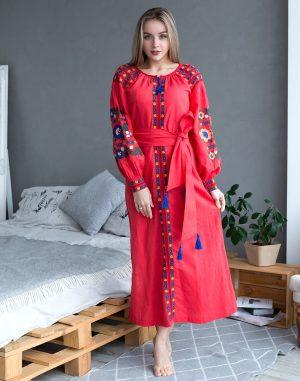 "Платье ""Борщівські барви"" Д-88-3 лен красный"