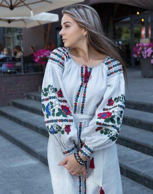 "Платье ""Борщівські барви"" Д-88-3 лен серый"