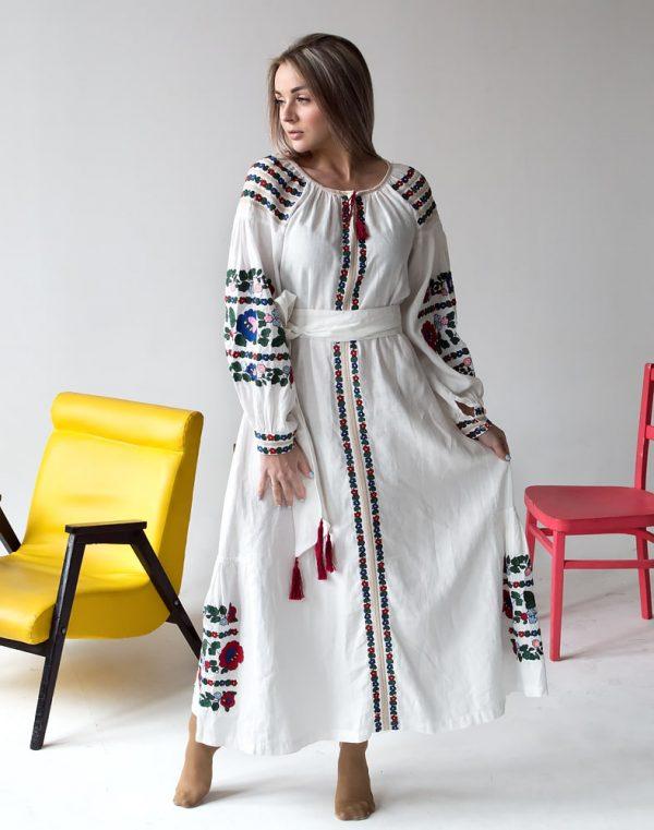 """Платье """"Борщівські барви""""  Д-88-4 лен молоко"""