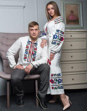 "Платье ""Борщівські барви""  Д-88-4 лен белый"