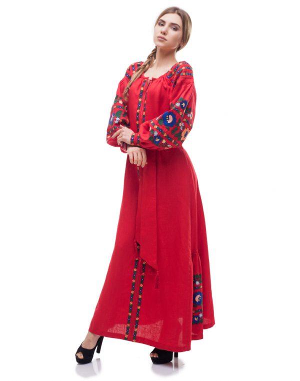 "Платье ""Борщівські барви""  Д-88-4 лен красный"