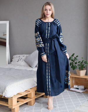"""Платье """"Борщівські барви""""  Д-88-4 лен темный синий"""