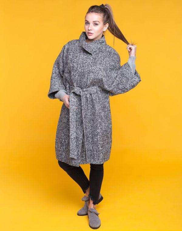 Пальто женское К-163 Твид черно-белый