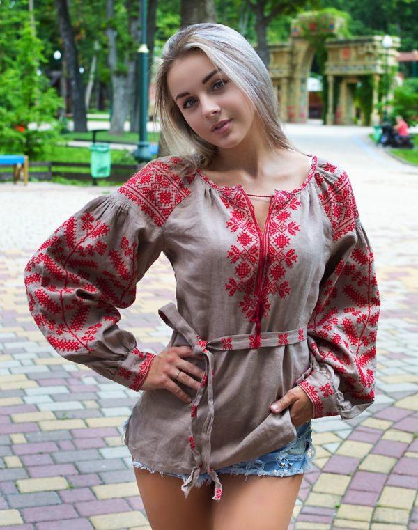 """Вишиванка жіноча """"Колоскова"""", модель Д-88, льон кава"""