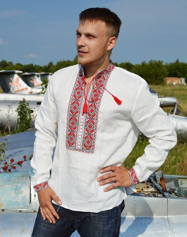 "Вышиванка мужская ""Гроно"", лен белый"