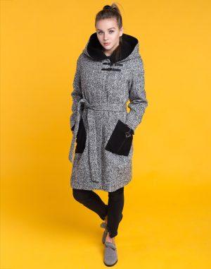 В-53 Пальто женское утепленное Твид черно-белый
