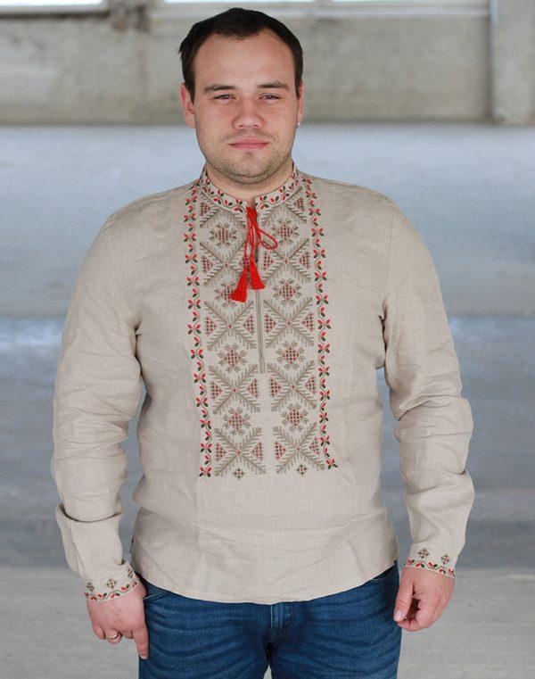 "Вышиванка мужская ""Сумчанин"", лен бежевый"
