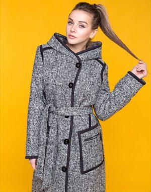 В-173 Пальто женское утепленное Твид бело-черное