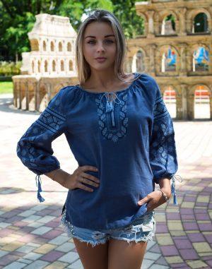 """Вишиванка жіноча """"Гроно"""", модель Д-54, льон синій джинс"""