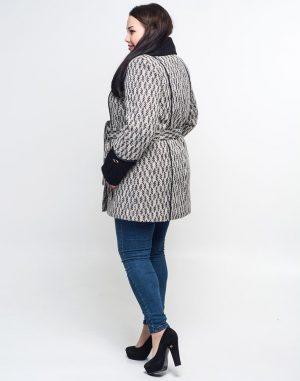 Пальто женское утепленное В-21 Ария твид черно-белый