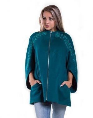 Пальто женское К-154 кашемир бирюза