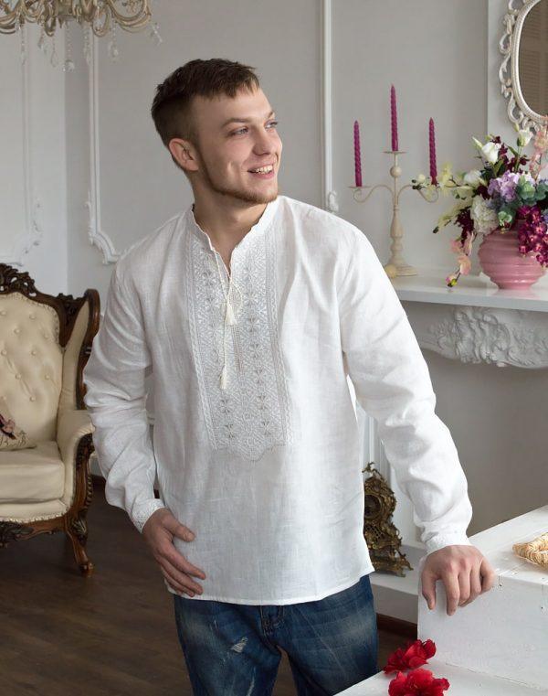 """Вышиванка мужская """"Чернігівська"""", лен белый"""