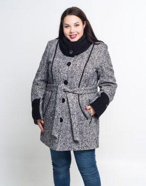 Пальто женское утепленное В-21 твид/букле черно-белый