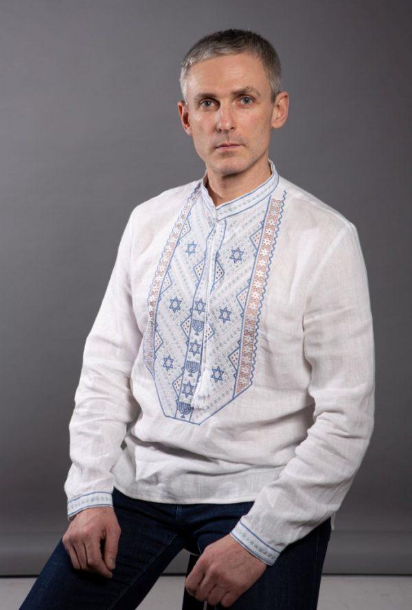 """Вышиванка мужская """"Зірка Давида"""", лен  белый"""
