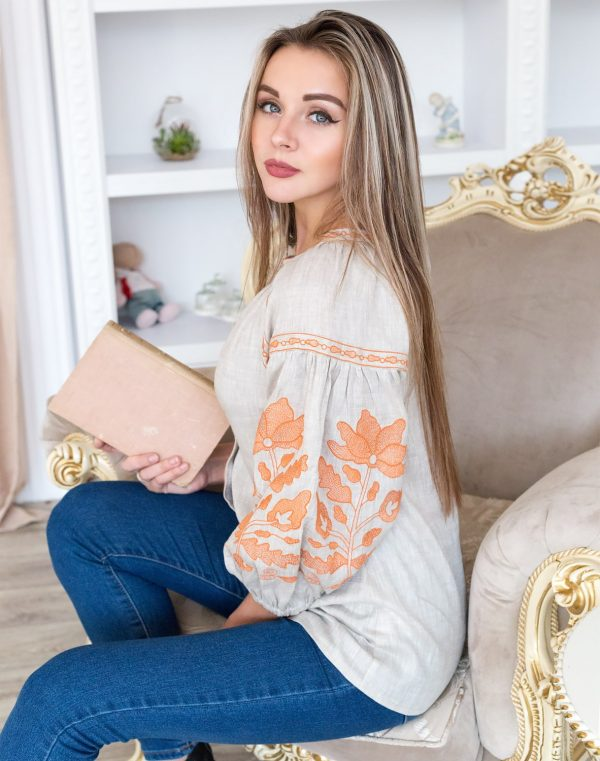 """Вышиванка женская """"Малинова Квитка"""" лен бежевый"""