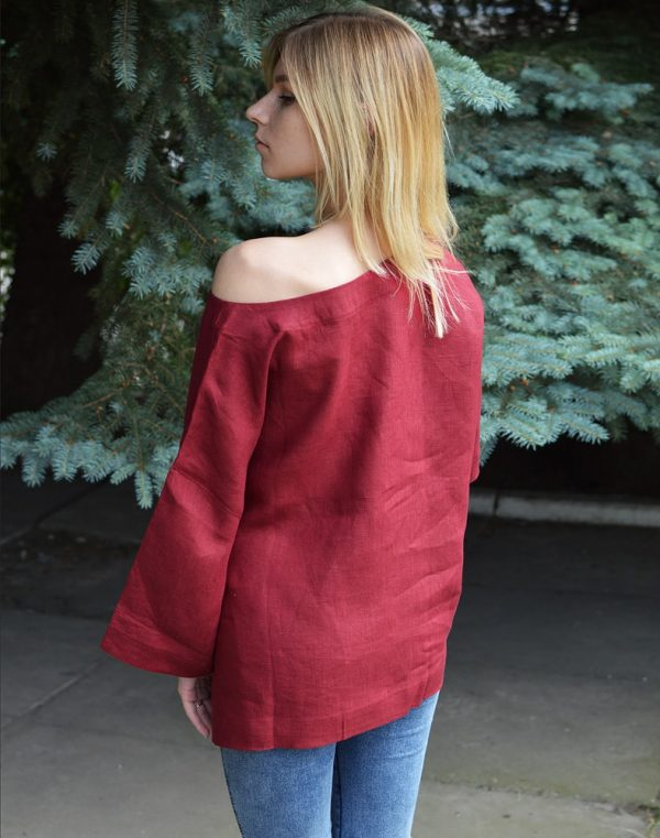 Блуза женская ВП-68 лен бордо