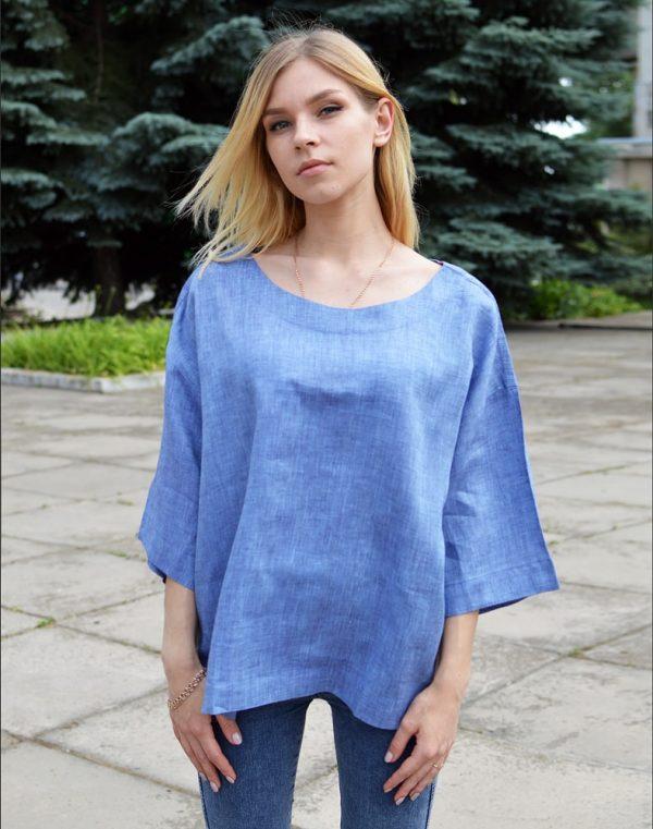 Блуза женская ВП-68 лен джинс