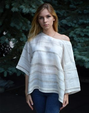 Блуза женская ВП-68 лен бежевый