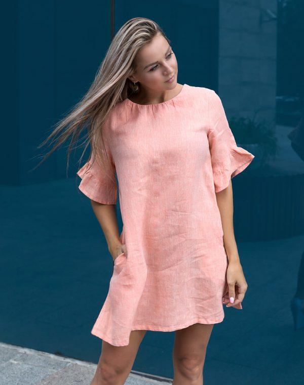 Платье ВП-67-К лен персик