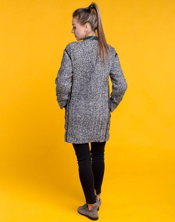 В-54 Пальто рогожка черный/серый