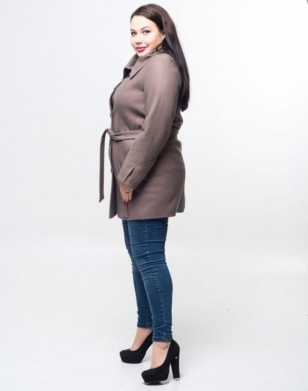 Пальто женское утепленное В-21 кашемир бежевый
