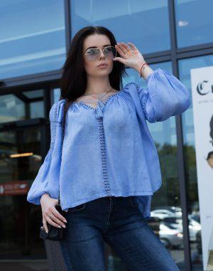 """Блуза женская вышитая """"Фантазія"""", лен голубой"""