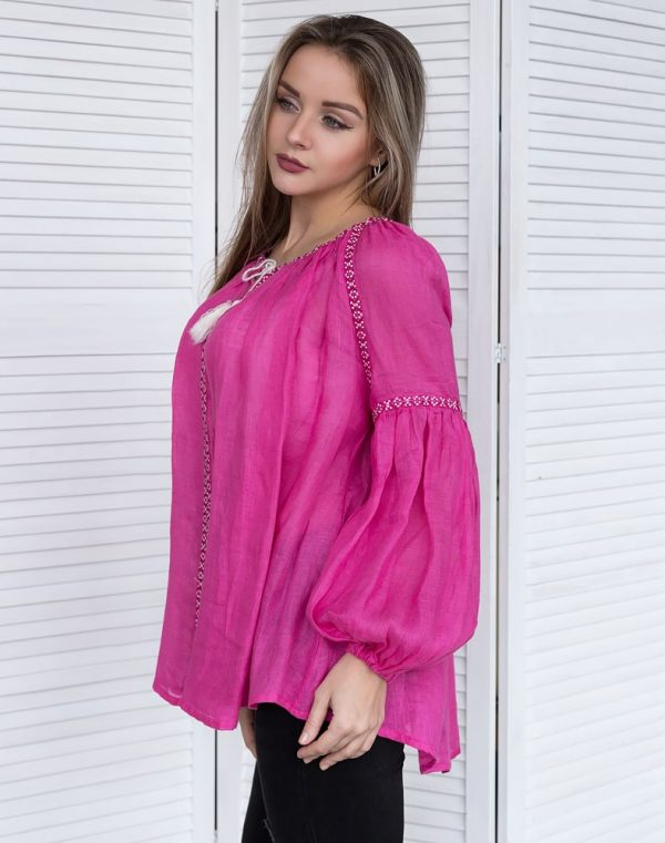 """Блуза жіноча вишита """"Фантазія"""", льон малина"""