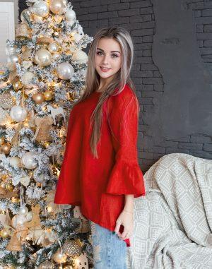 Блуза женская ВП-55 лен красный