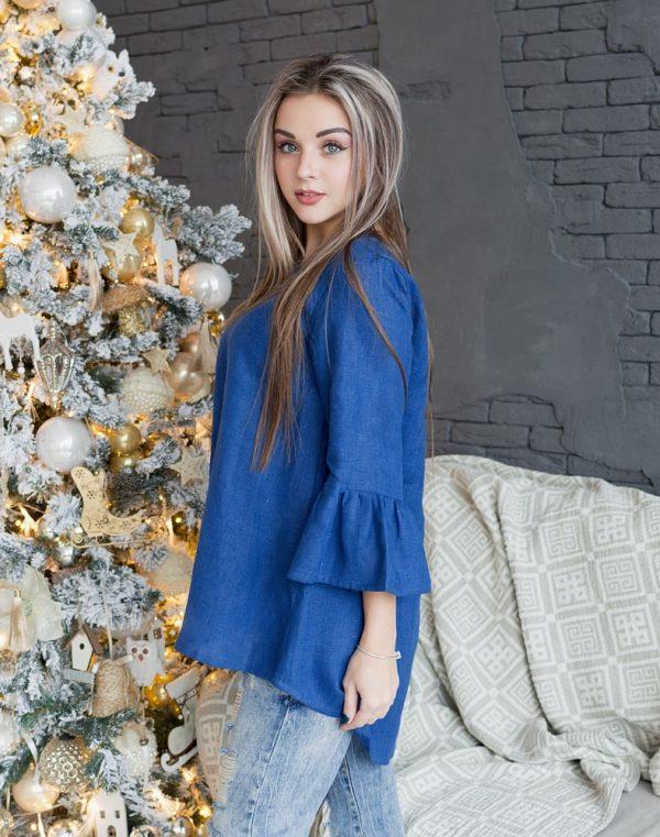 Блуза женская ВП-55 лен синий
