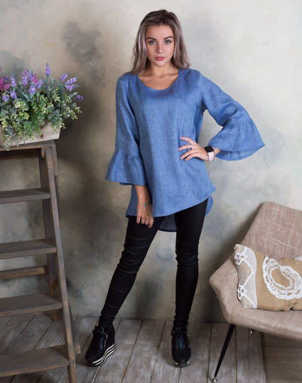 Блуза женская ВП-55 лен джинс