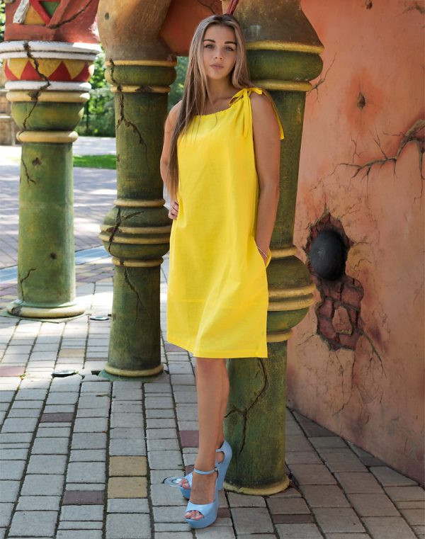 Сарафан ВП-57 лен желтый
