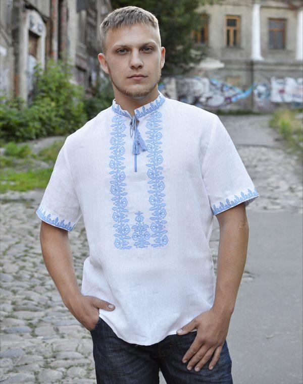 """Вышиванка мужская """"Козацька"""" лен белый"""