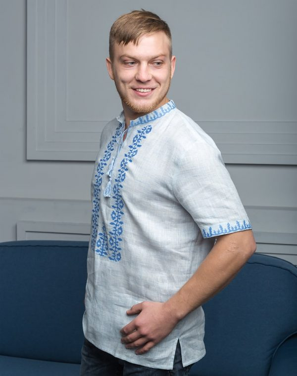 """Вышиванка мужская """"Козацька"""" лен голубой"""