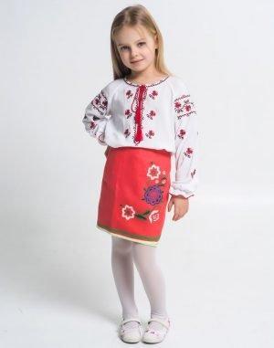 """Вышиванка для девочек """"Троянда""""122-140 поплин белый"""