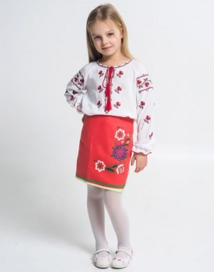 """Вышиванка для девочек """"Троянда"""" 146-158 поплин белый"""