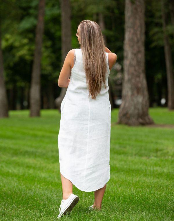 Платье ВП-64 лен белый