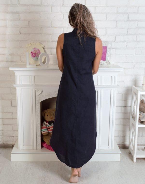 Платье ВП-64 лен темно-синий