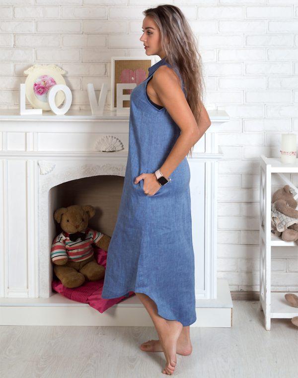 Платье ВП-64 Лен джинс