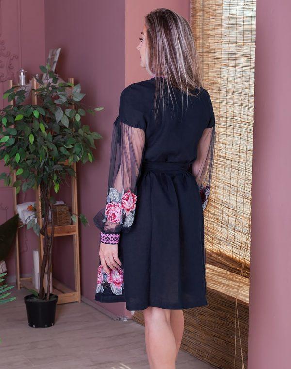 Платье женское РОЗЫ, арт. ВП-136, лен голубой