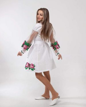"Платье ""Троянди"", лен белый"