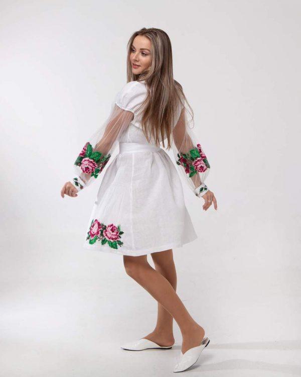 Платье женское РОЗЫ, арт. ВП-136, лен белый
