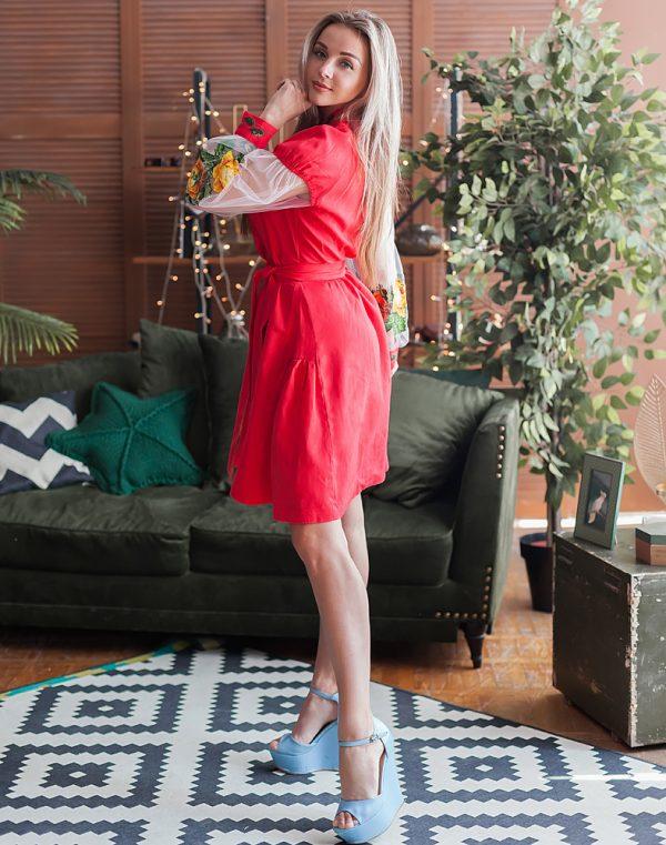 Платье женское РОЗЫ, арт. ВП-136, лен красный