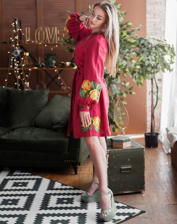 Платье женское РОЗЫ, арт. ВП-136, лен бордо