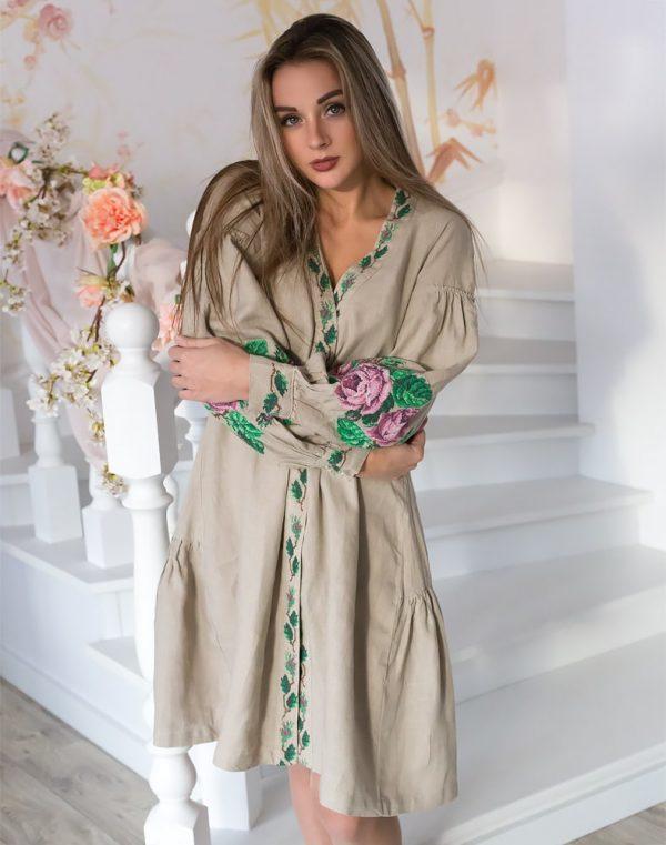 "Платье ""Троянди"" лен бежевый"