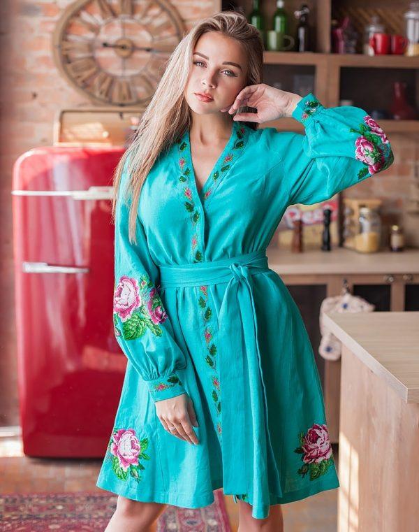 Платье женское РОЗЫ, арт. ВП-136, лен бирюзовый