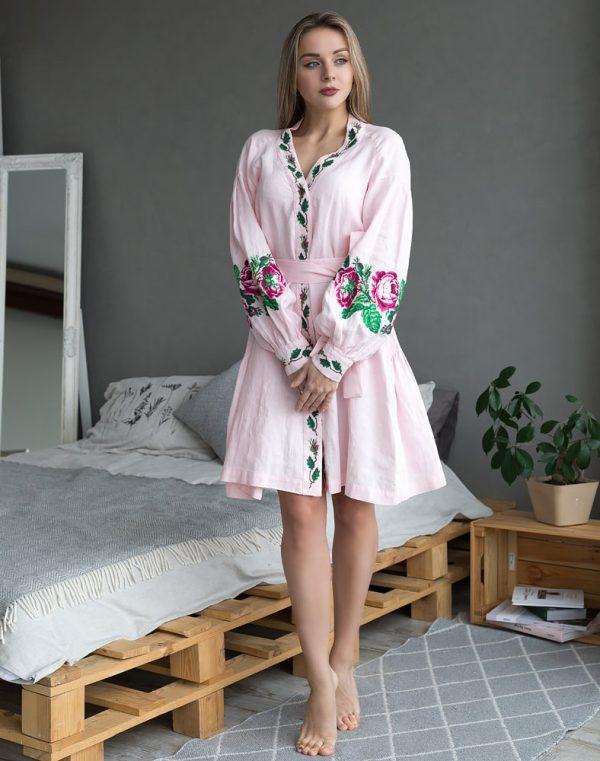 Платье женское РОЗЫ, арт. ВП-136, лен розовый